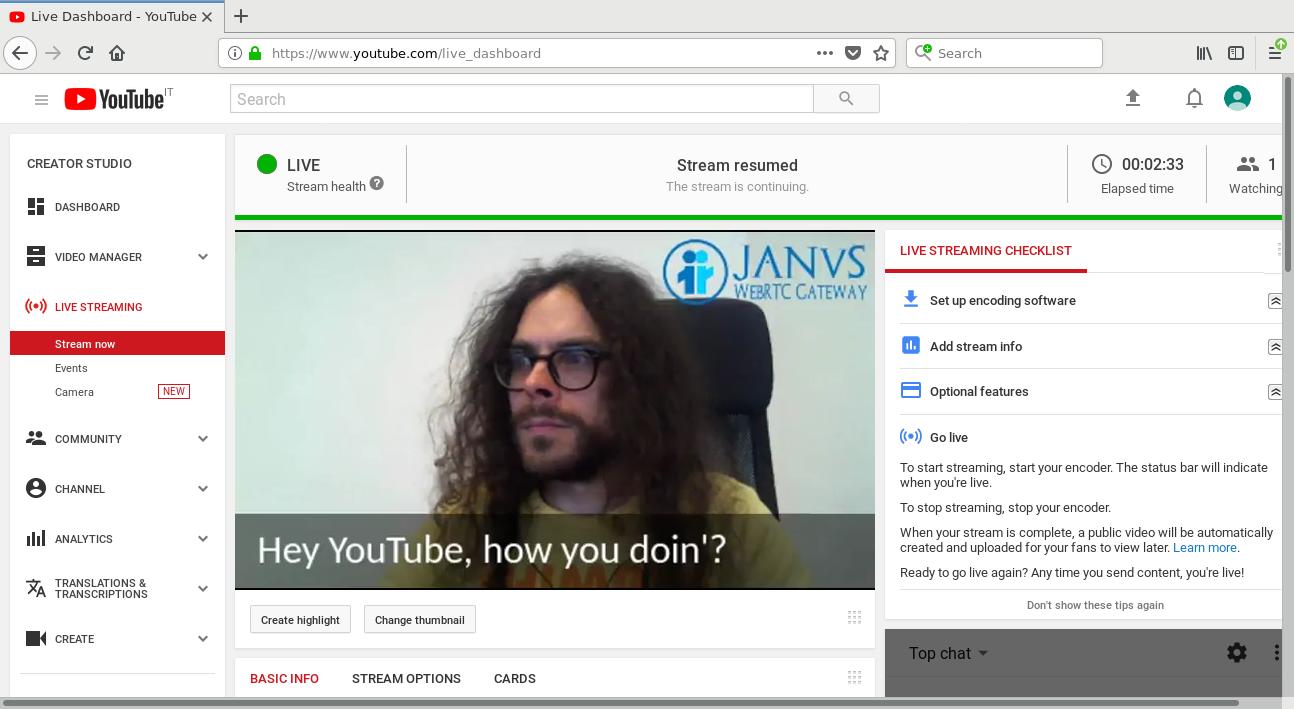 Streaming live to YouTube via WebRTC with Firefox (kinda) | Meetecho